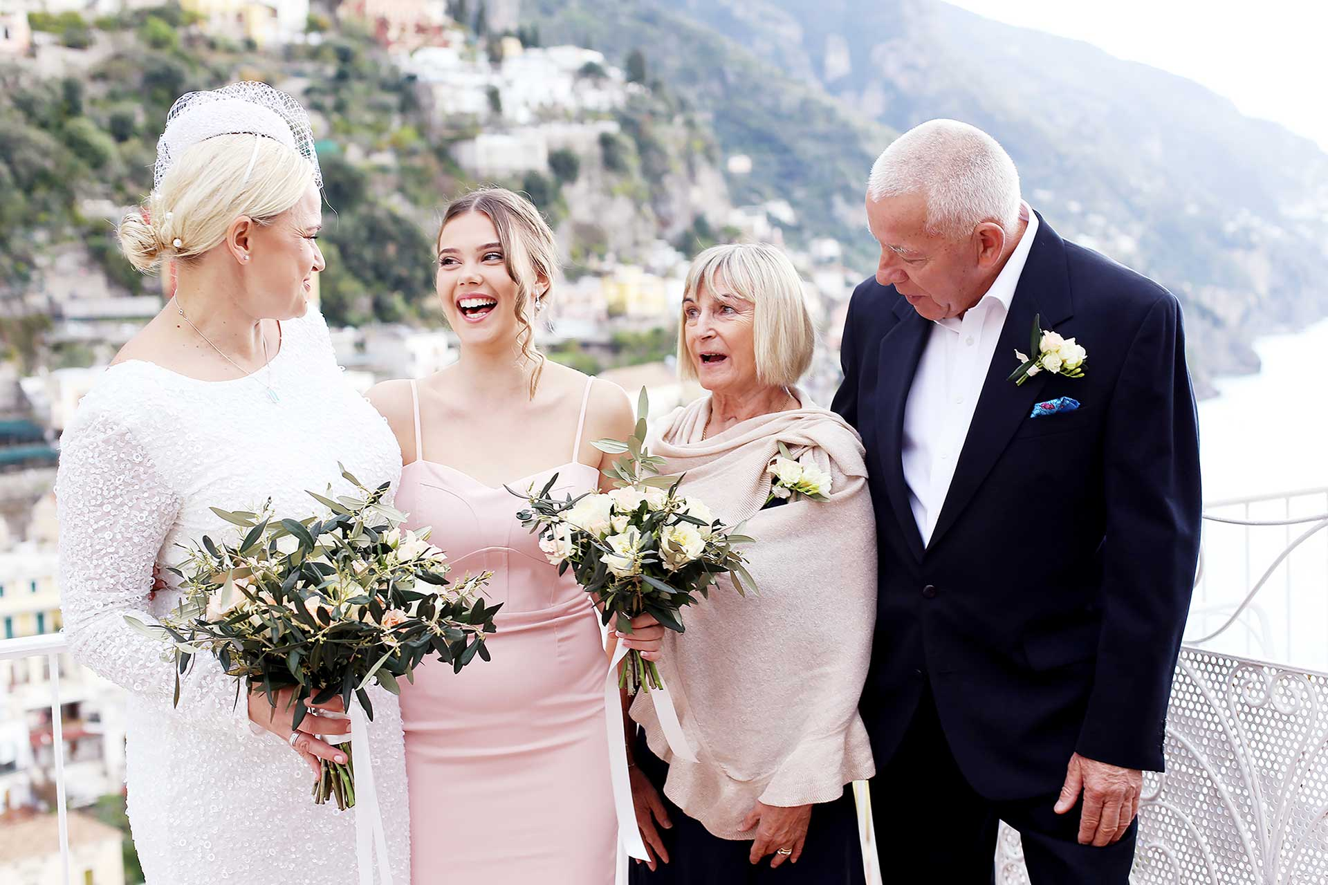 Destination Catholic Church San Gennaro Wedding Praiano Amalfi Coast Italy Reception Hotel Restaurant Praiano Wedding Location Claudia Francese Photography Sisters
