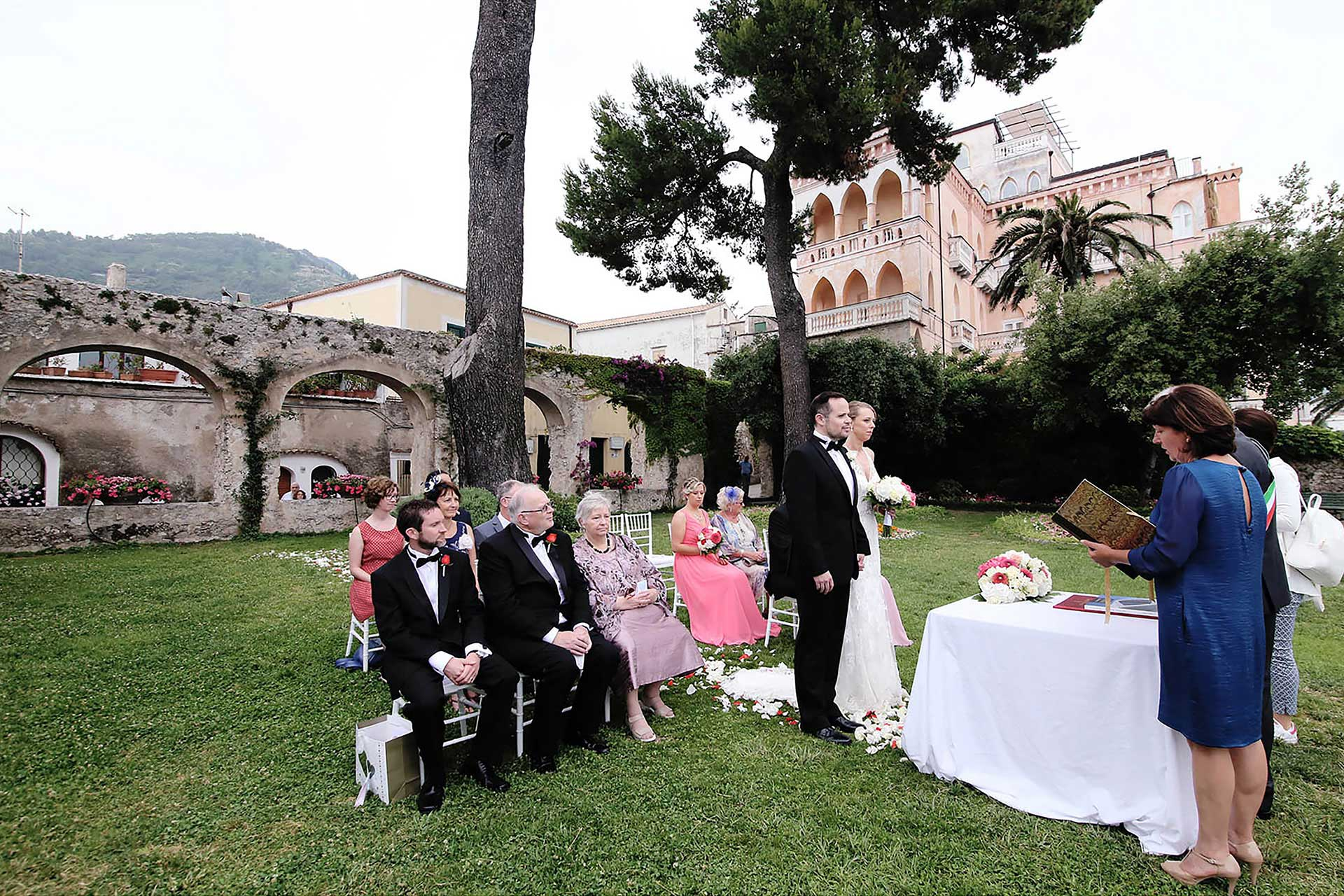 Civil Wedding Ravello Town Hall Garden Principessa di Piemonte Reception Belmond Hotel Caruso Italy Claudia-Francese Photography Sisters