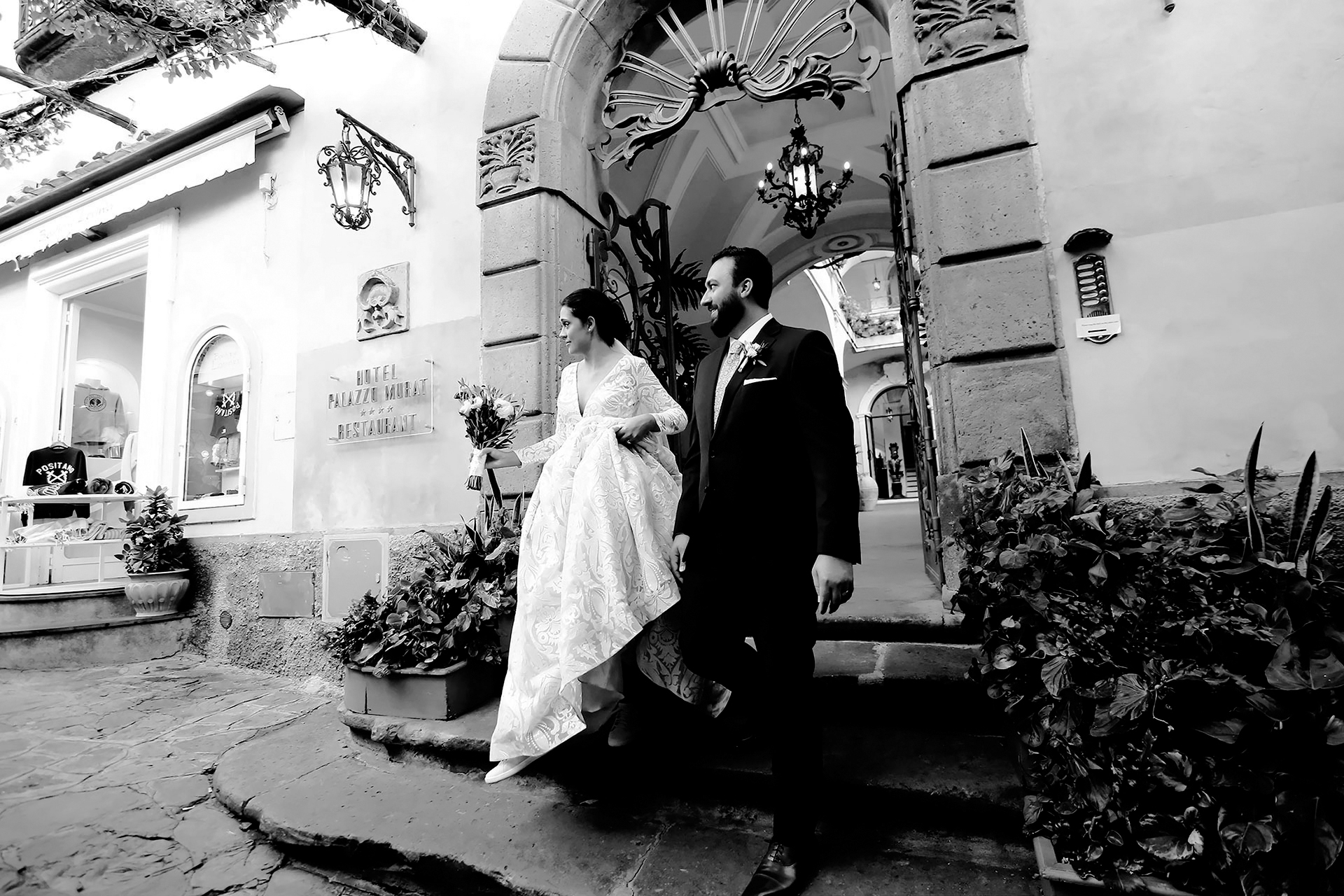 Luxury Symbolic Catholic Protestant Jewish Vows Blessing Destination Wedding Hotel Palazzo Murat Location Positano Amalfi Coast Claudia Francese Photography Sisters